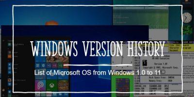 List History of Microsoft Windows OS Versions