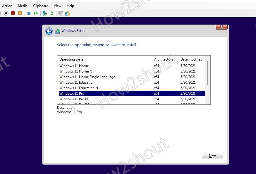 Select Windows 11 editions