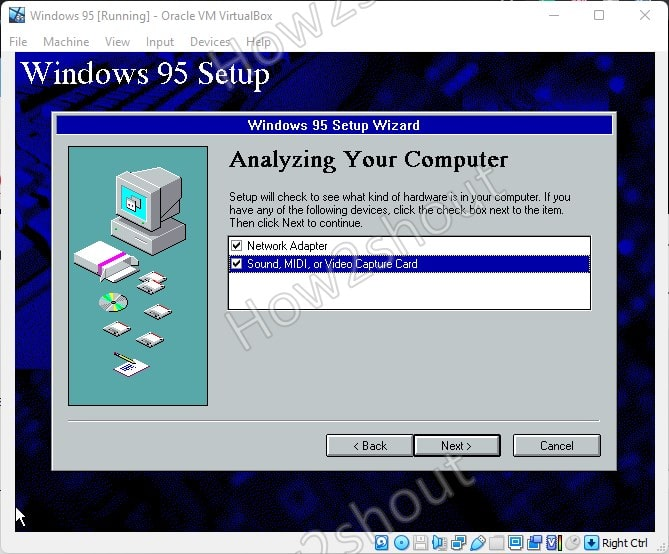 Select network card Win 95