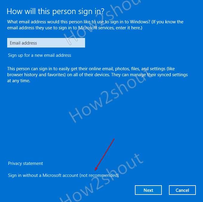 Sign using without microsoft account