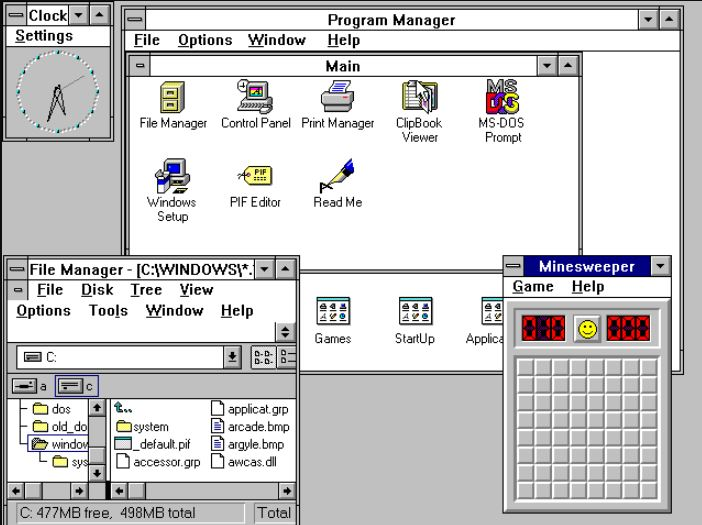Windows 3.1x Microsot operating system list min