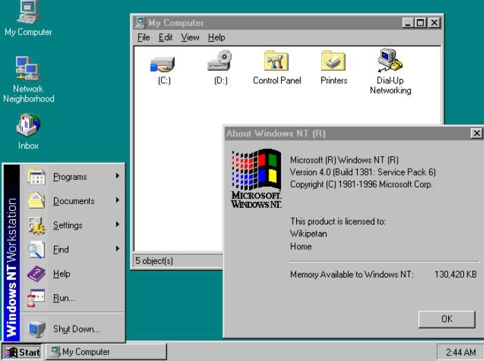 Windows NT list of OS min