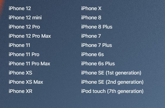 iOS 15 is compatible with these iPhone models