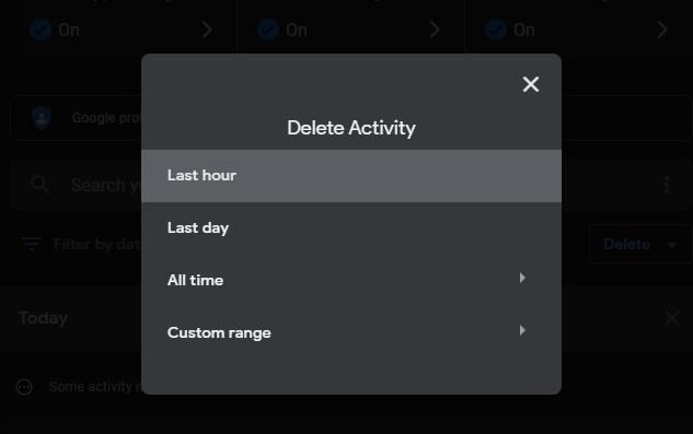 manually delete Google search records in the last 1 hour