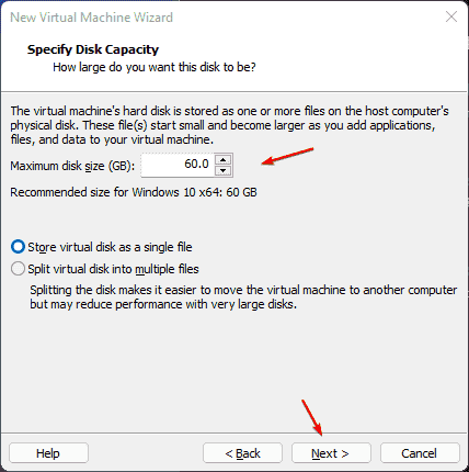 Assign Virtual hard disk size