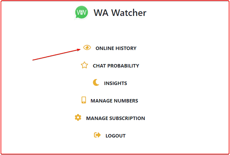 Check WhatsApp online history for others