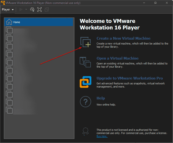 Create a new Windows 11 virtual machine on VMware player