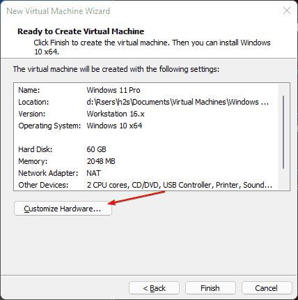 Customize Hardware to increase VM RAM