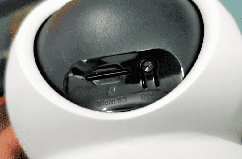 EZVIZ C6N microSD card slot and Reset button