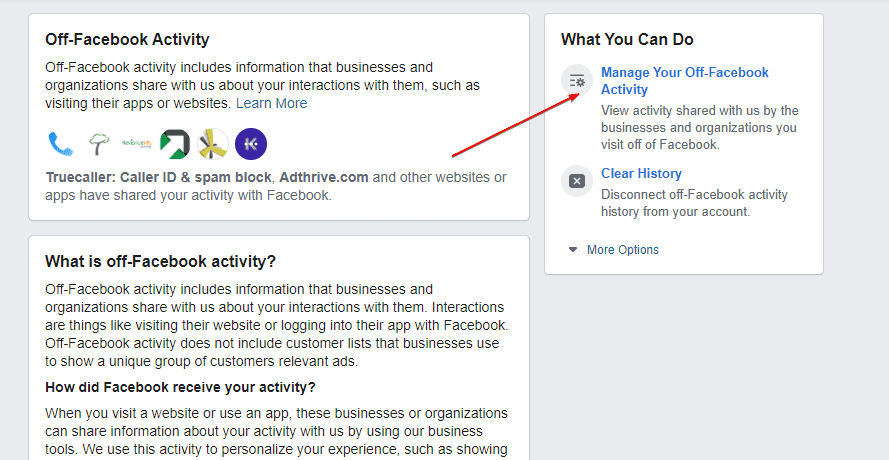 Manage Your Off Facebook Activity