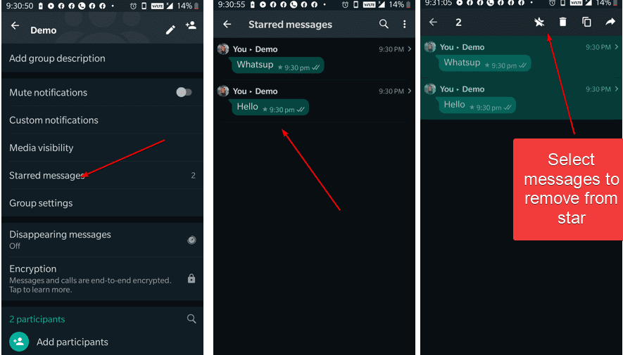 Remvoe Whatsapp messages from bookmark or star
