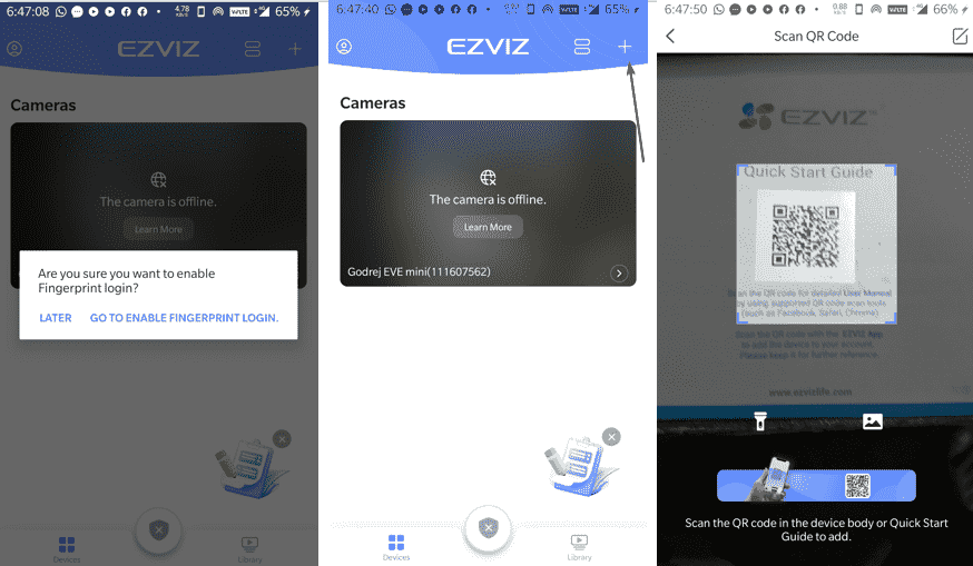 Scan QR code to register camera