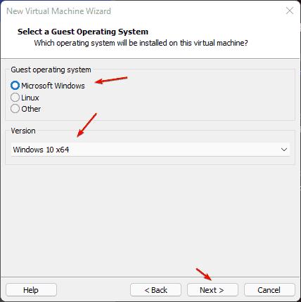 Select OS type Windows 10 on VMplayer