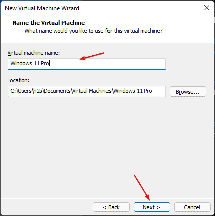 Set VM name and files location