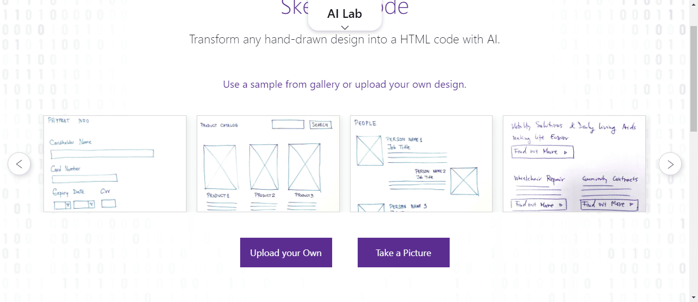 Sketch2Code upload drawing to create HTML