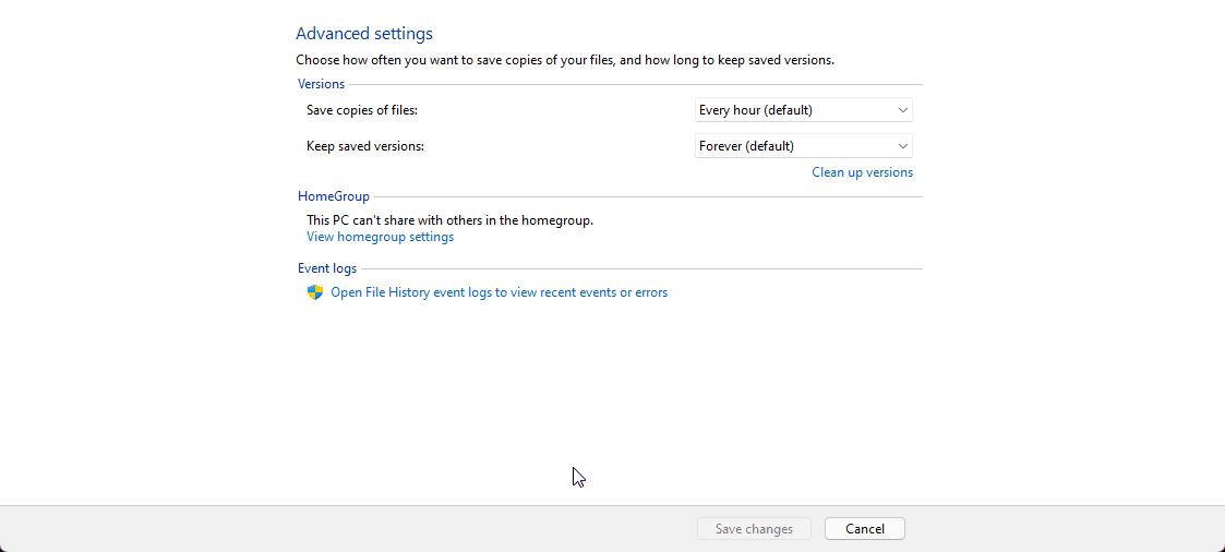 Advanced Settings File History