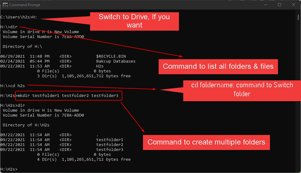 Command prompt to create multiple folder in Windows 10 or 11