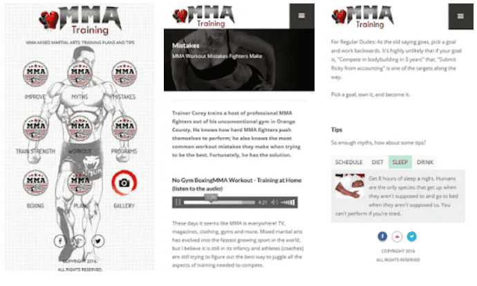 MMA Training and Fitness app