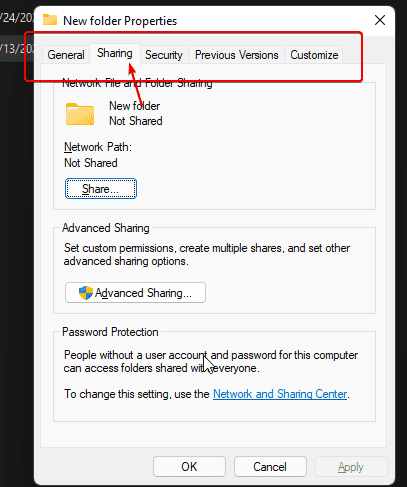 Missing Sharing TAb is available now on Windows 11 or 10
