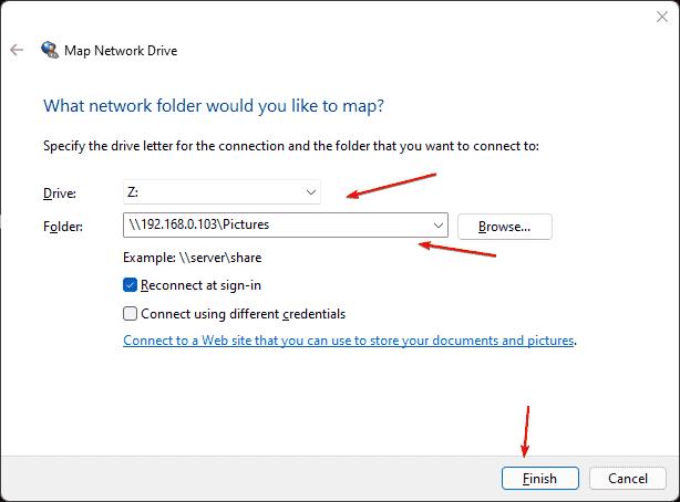 Network folder mapped on Windows 11