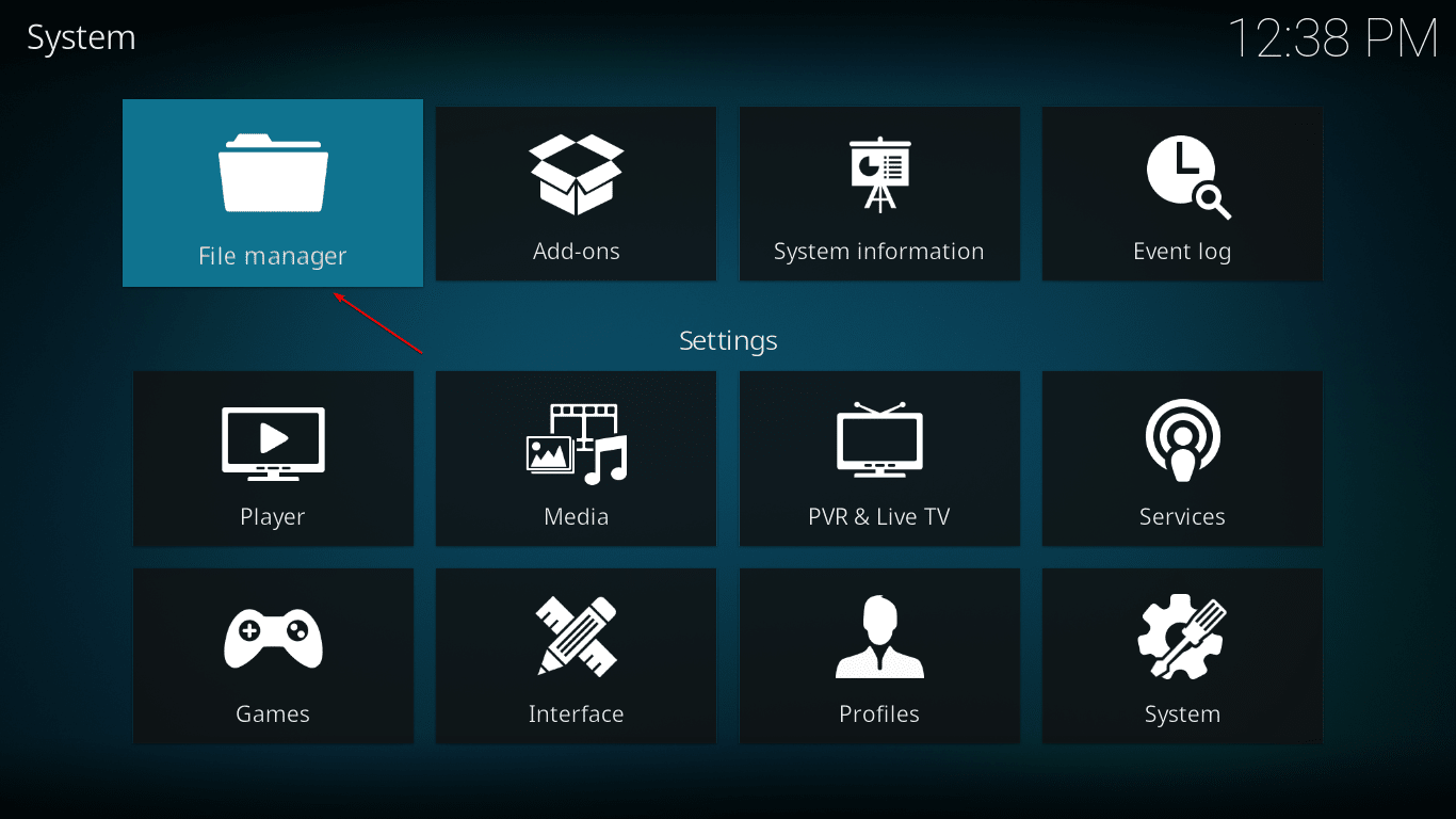 Open Kodi File Manager to Add Source