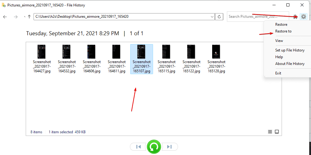 Restore FIle to some other location