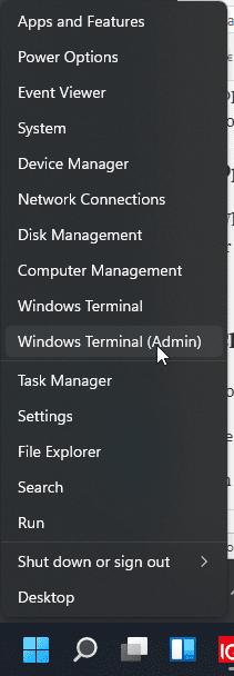 Run Windows terminal Admin