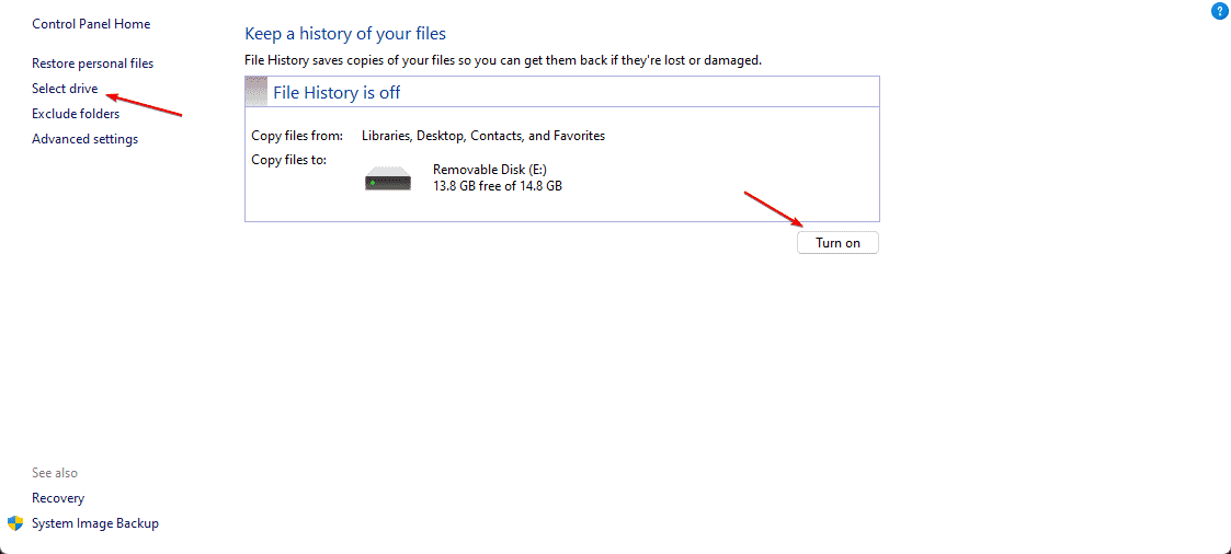 Select Dirve and Turn On File History on Windows 11 or 10