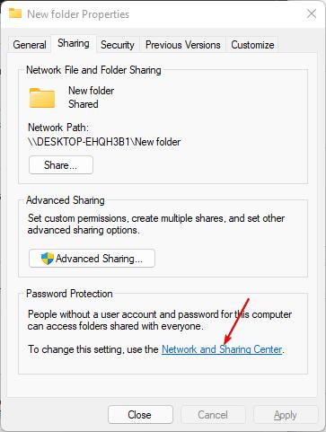 Set Password protection on Shared folder