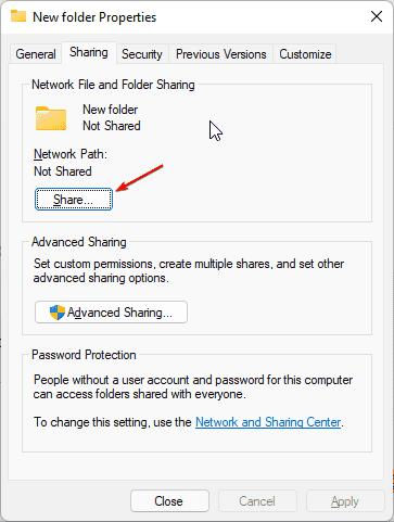 Share folder for network