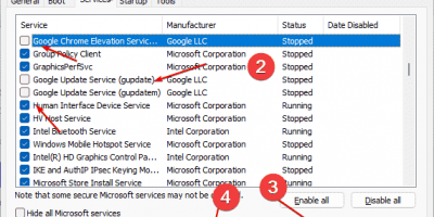 Turn off the Google Chrome update services