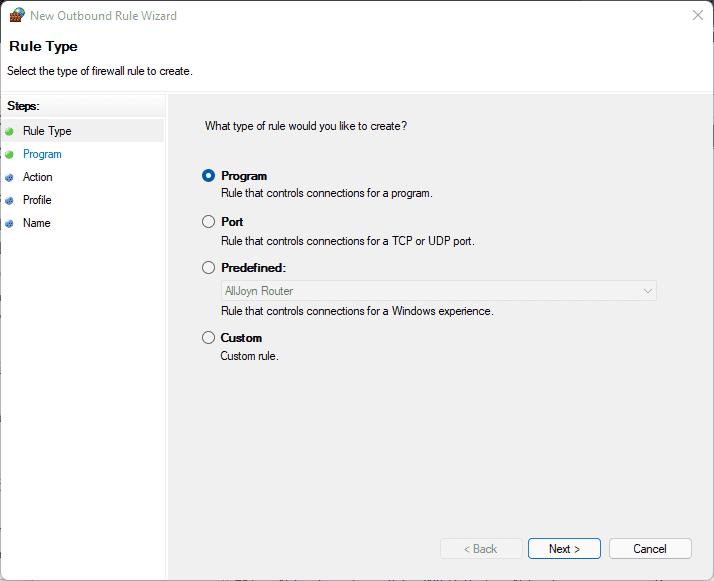 Create Rule to block program in Windows firewall