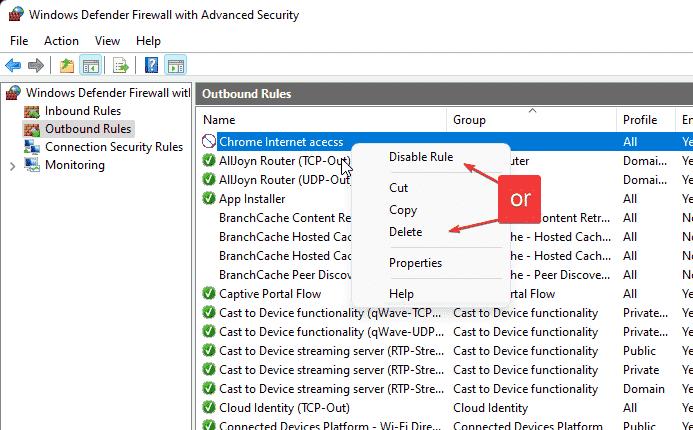 Delete created Firewall Rule