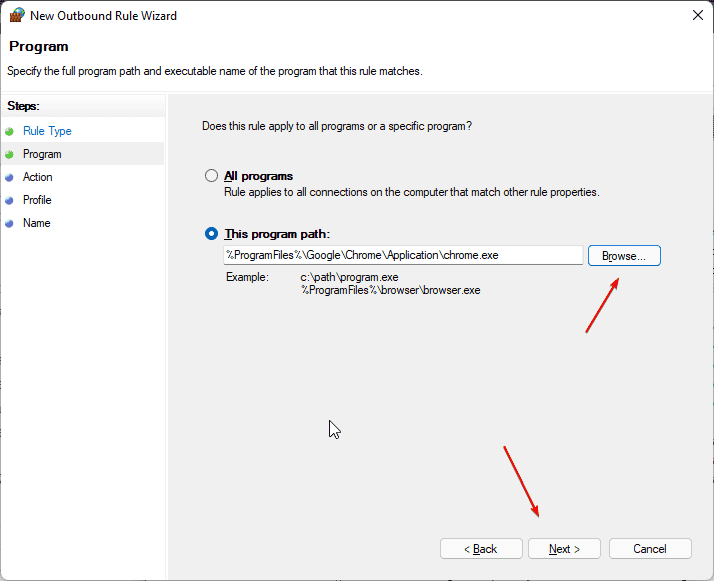 Select that Program to block in Firewall